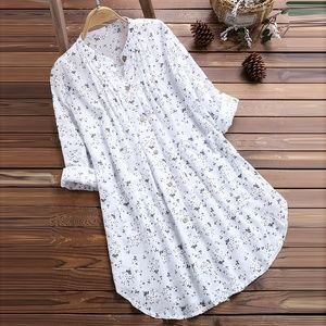 Sweaters - Womens Blouses V-Neck Pleated Floral Print Long Sl
